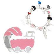 Berloque folheado a prata em forma de carrinho de bebê c/ resina (Pandora inspired) - Clique para maiores detalhes