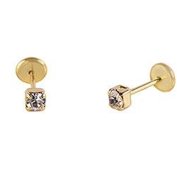 Brinco infantil (ou 2º furo) folheado a ouro c/ strass de 2,5 mm e tarraxa Baby - Clique para maiores detalhes