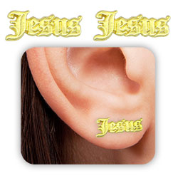 Brinco Jesus folheado a ouro - Clique para maiores detalhes