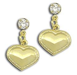 Brinco de coração folheado a ouro com strass