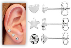 Conjunto c/ três pares de brinco folheados a prata: pedrinha, estrela e coração