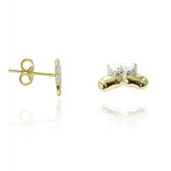 Brinco infaltil folheado a ouro em forma de botinhas c/ aplique de prata - Clique para maiores detalhes