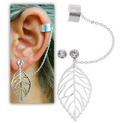 Brinco EAR CUFF folheado a prata c/ adereço em forma de folha - Clique para maiores detalhes