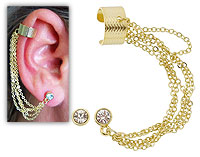 Brinco EAR CUFF folheado a ouro c/ quatro correntinhas e strass - Clique para maiores detalhes