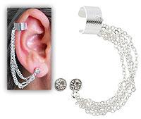Brinco EAR CUFF folheado a prata c/ quatro correntinhas e strass - Clique para maiores detalhes