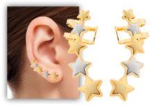 Brinco Ear Cuff folheado a ouro em forma de estrelas c/ apliques de prata - Clique para maiores detalhes