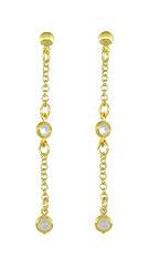 Brinco Tiffany Inspired folheado a ouro c/ duas zircônias - Clique para maiores detalhes