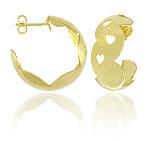 Brinco de argola folheado a ouro c/ chapa lisa e corações - Clique para maiores detalhes