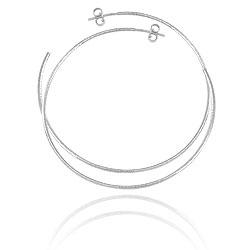 Brinco de argola de fio folheado a prata c/ acabamento texturizado (tamanho G) - Clique para maiores detalhes