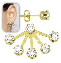 Brinco estilo Grace Kelly folheado a ouro c/ pedras de strass de 5 mm - Clique para maiores detalhes