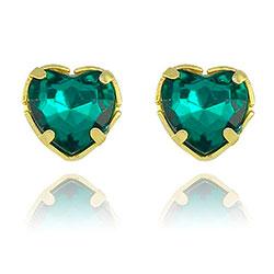 Brinco folheado a ouro c/ pedra acrílica verde esmeralda em forma de coração - Clique para maiores detalhes