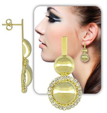 Brinco Meia-Bola duplo c/ strass folheado a ouro