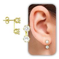 Brinco estilo Grace Kelly folheado a ouro c/ 2 pedras de zircônia - Clique para maiores detalhes