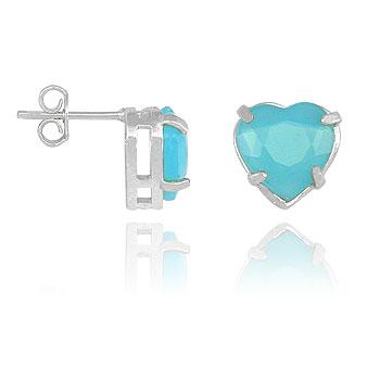 Brinco folheado a prata c/ pedra acrílica em forma de coração (azul turquesa)