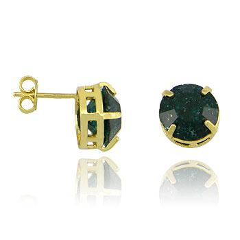 Brinco folheado a ouro c/ Pedra Fusion na cor esmeralda