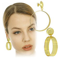 Brinco folheado a ouro c/ adereço circular, semelhante ao utilizado pela personagem Karola (Segundo Sol) - Clique para maiores detalhes