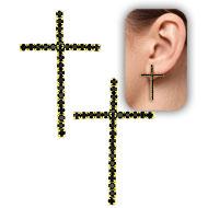 Brinco folheado a ouro em forma de cruz, semelhante ao utilizado pela personagem Luzia (Segundo Sol) - Clique para maiores detalhes
