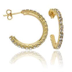 Brinco de argola folheado a ouro todo em strass (tamanho P)