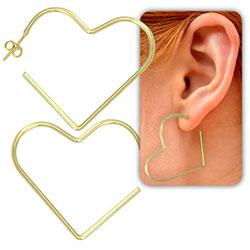 Brinco de argola folheado a ouro em forma de coração (tamanho M) - Clique para maiores detalhes