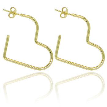 Brinco de argola folheado a ouro em forma de coração (tamanho P)