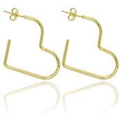 Brinco de argola folheado a ouro em forma de coração (tamanho P) - Clique para maiores detalhes