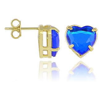 Brinco folheado a ouro c/ pedra acrílica em forma de coração (azul safira)