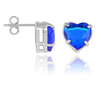 Brinco folheado a prata c/ pedra acrílica em forma de coração (azul safira)