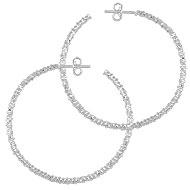 Brinco de argola folheado a prata c/ detalhes trabalhados (tamanho G) - Clique para maiores detalhes