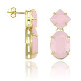 Brinco folheado a ouro c/ pedras acrílicas na cor rosa - Clique para maiores detalhes