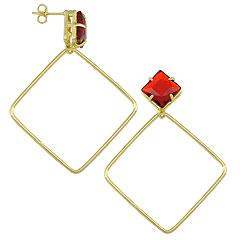 Brinco folheado a ouro c/ pedra acrílica quadrada e adereço em forma de losango - Clique para maiores detalhes