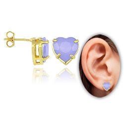 Brinco folheado a ouro c/ pedra acrílica em forma de coração (lilás) - Clique para maiores detalhes