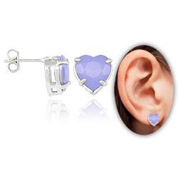 Brinco folheado a prata c/ pedra acrílica em forma de coração (lilás) - Clique para maiores detalhes