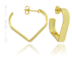 Brinco de argola folheado a ouro em forma de coração - Clique para maiores detalhes