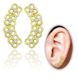 Brinco Ear Cuff folheado a ouro c/ flores e Micro Zircônias - Clique para maiores detalhes