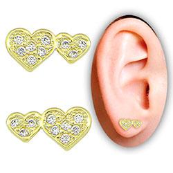 Brinco folheado a ouro c/ corações e Micro Zircônias - Clique para maiores detalhes