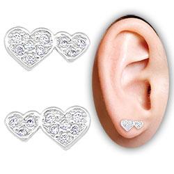 Brinco folheado a prata c/ corações e Micro Zircônias - Clique para maiores detalhes