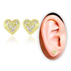 Brinco folheado a ouro em forma de coração c/ Micro Zircônias - Clique para maiores detalhes