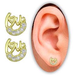 Brinco Love folheado a ouro c/ Micro Zircônias - Clique para maiores detalhes