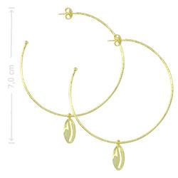 Brinco de argola folheado a ouro c/ detalhe em forma de Búzio - Clique para maiores detalhes