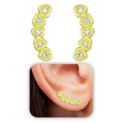Brinco Ear Cuff folheado a ouro c/ corações e Micro Zircônias - Clique para maiores detalhes