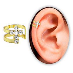 Piercing de orelha (fake) folheado a ouro c/ cruz de strass - Clique para maiores detalhes