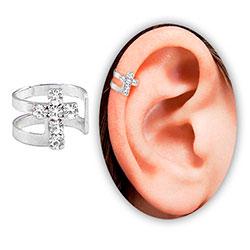 Piercing de orelha (fake) folheado a prata c/ cruz de strass - Clique para maiores detalhes