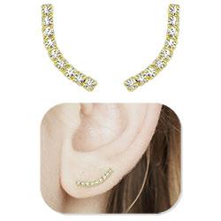 Brinco Ear Cuff folheado a ouro c/ pedras de strass - Clique para maiores detalhes