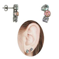Brinco Ear Cuff c/ banho onix e pedras multicoloridas - Clique para maiores detalhes