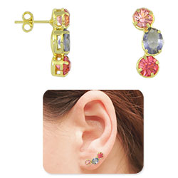 Brinco Ear Cuff folheado a ouro c/ pedras multicoloridas - Clique para maiores detalhes