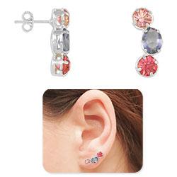 Brinco Ear Cuff folheado a prata c/ pedras multicoloridas - Clique para maiores detalhes