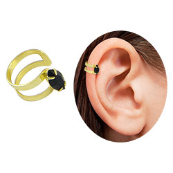 Piercing Fake de orelha folheado a ouro c/ pedra navete - Clique para maiores detalhes