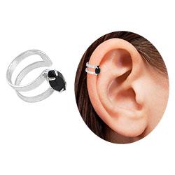 Piercing Fake de orelha folheado a prata c/ pedra navete - Clique para maiores detalhes