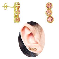 Brinco Ear Cuff folheado a ouro c/ strass rosa - Clique para maiores detalhes
