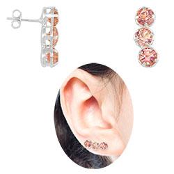 Brinco Ear Cuff folheado a prata c/ strass rosa - Clique para maiores detalhes
